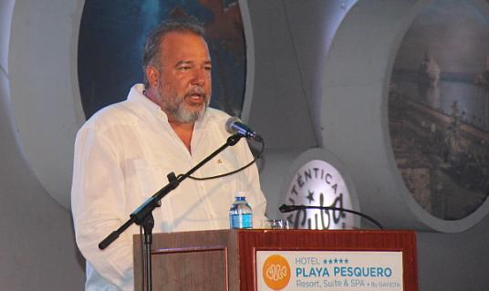 Le Ministre du tourisme de Cuba, Manuel Marrero Cruz,  lors de sa conférence à l'inauguration officielle du FIT Cuba 2017.