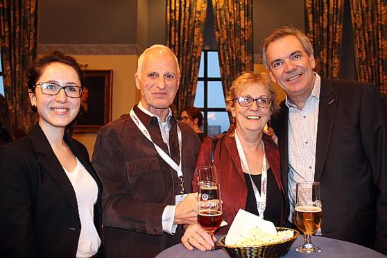 Sarah Justine Leduc-Villeneuve (chargée de projets Tourisme Montréal), Gilles Bengle (ancien responsable médias pour Tourisme Montréal), Louise Hébert (présidente de Guidatour) et Pierre Bellerose (Vice-président relations publiques, accueil, recherche et développement pour Tourisme Montréal)