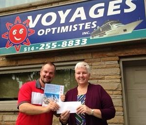 Josée Kaigle, Voyages Optimistes Inc., grande gagnante du concours avec Royal Caribbean International et Vacances Air Canada