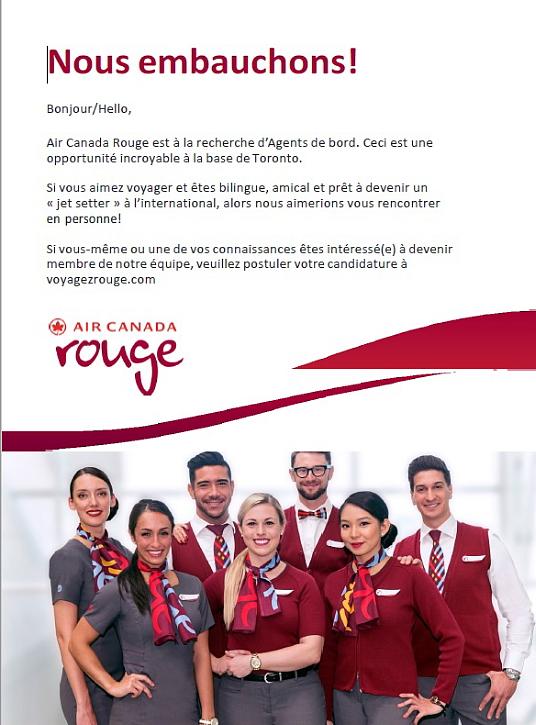 Air Canada Rouge a des postes à pourvoir