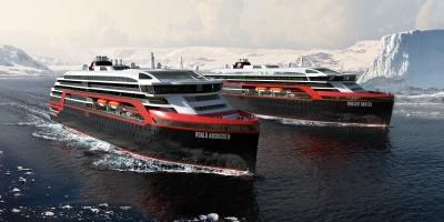 Hurtigruten : Mise à l'eau du Fridtjof Nansen