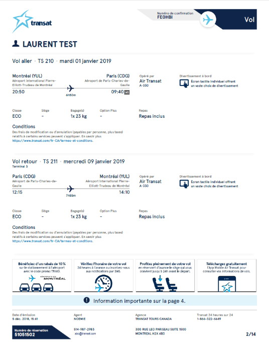 Transat : De nouveaux documents de voyages personnalisés