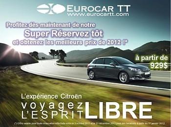Super réservez-tôt chez Eurocar TT / Citroën