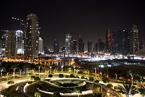 Le nouveau centre-ville de Dubai, vu de la tour El Khalifa.