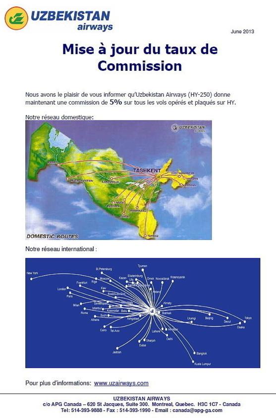 Uzbekistan Airways offre des commissions