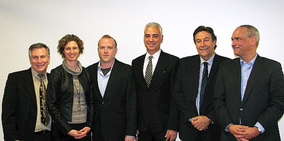 Robert Turcotte, Catherine Fortier, Moscou Côté, Jean Collette, Patrick Martinet et Me Daniel Guay