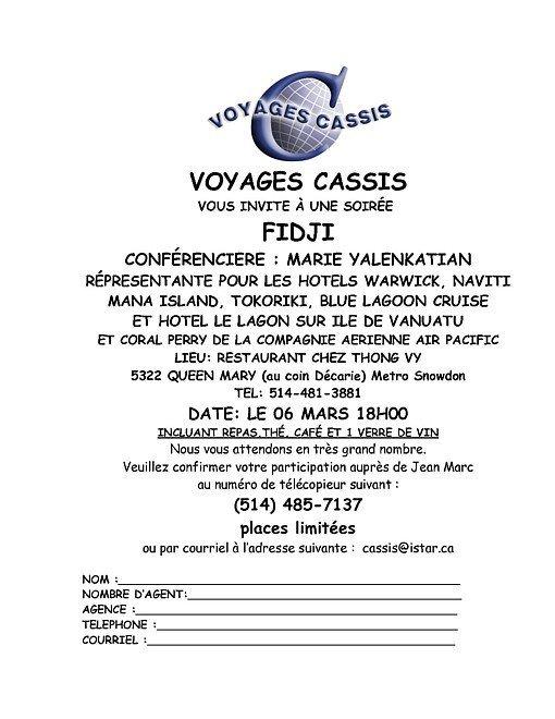 Voyages Cassis vous invite à une soirée- conférence sur Fidji