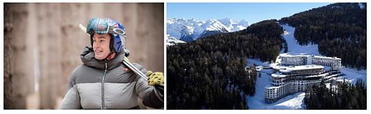 Le champion mondial de ski Erik Guay et une vue du Club Med Les Arcs Panorama.