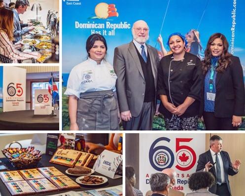Groupe : la Chef Paulette Tejada, l'ambassadeur de la République dominicaine au Canada, Pedro Vergés Cimán, la Chef Indhira Peguero, Cosette Garcia, directrice de l'Office de promotion du tourisme de la République dominicaine à Montréal.