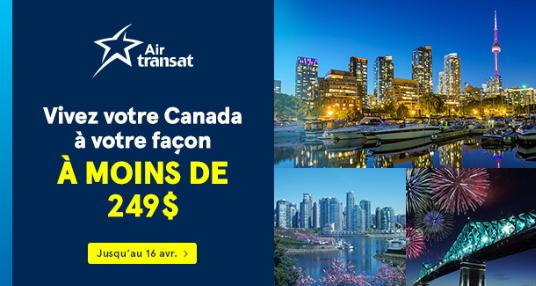 Vivez le Canada à votre façon grâce à Air Transat