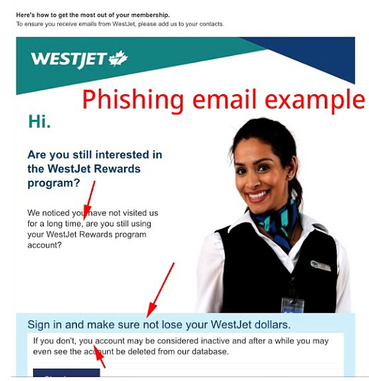 WestJet avertit le public d'une fraude d'hameçonnage par courriel