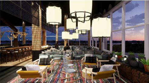 Un des futurs espaces de restaurations avec vue sur le St- Laurent