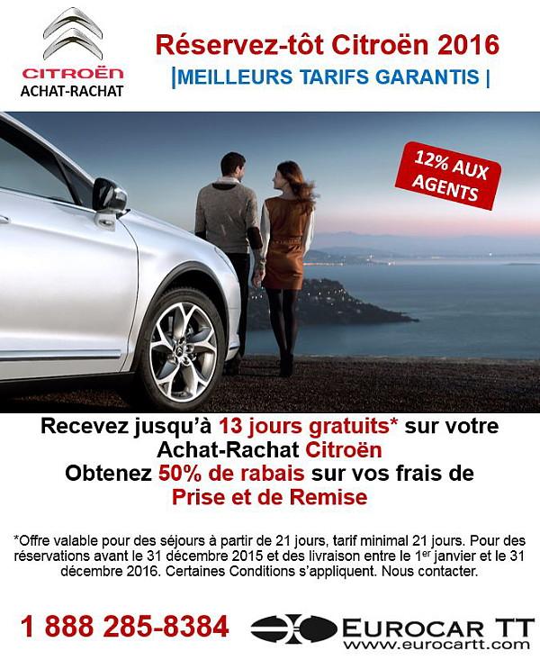 EurocarTT débute la saison 2016 en offrant un SUPER RÉSERVEZ-TÔT en achat-rachat Citroën!